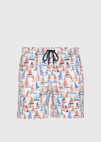 Multi Color Sail Boat Swim Shorts, thumbnail 1