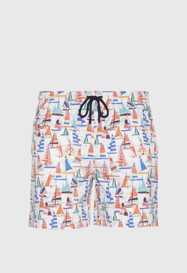 Multi Color Sail Boat Swim Shorts, image 1