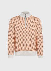Cashmere Blend Parquet Half Zip Pullover, thumbnail 1