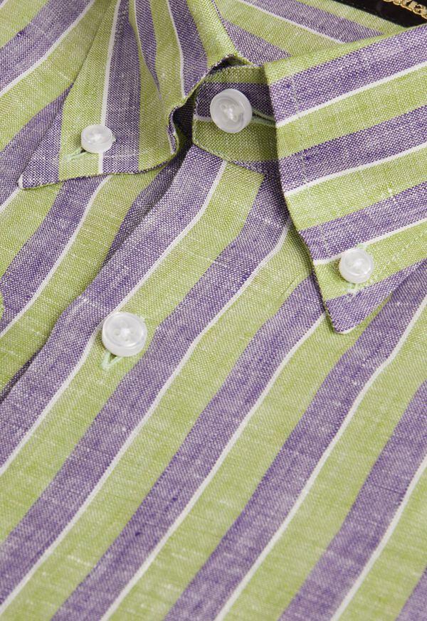 Linen 2 Color Awning Stripe Sport Shirt, image 2