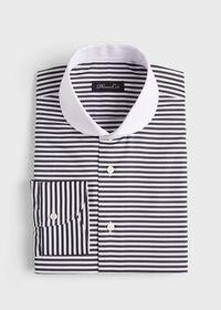 Horizontal Stripe Round Collar Shirt, thumbnail 1