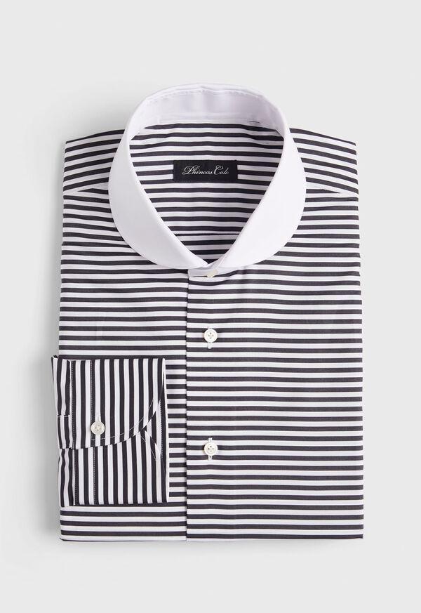 Horizontal Stripe Round Collar Shirt