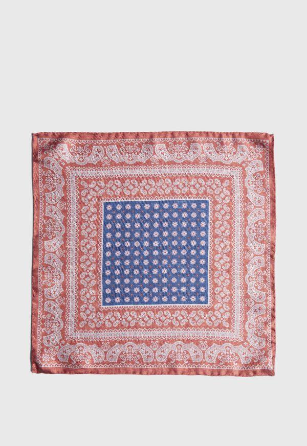 Silk Paisley Medallion Pocket Square, image 2