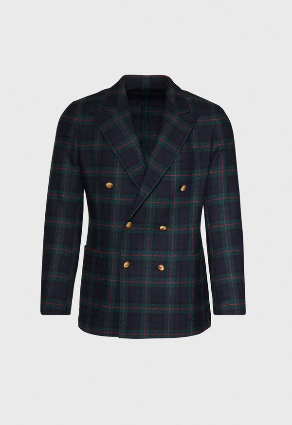 Plaid Double Breasted Wool Jacket, image 1