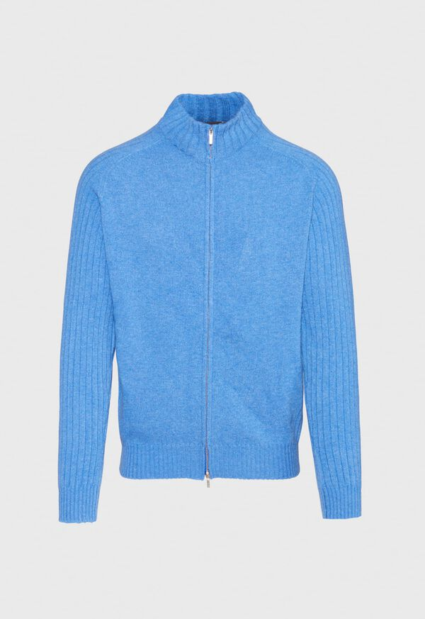 Ribbed-Knit Sleeves Zip Cardigan, image 1