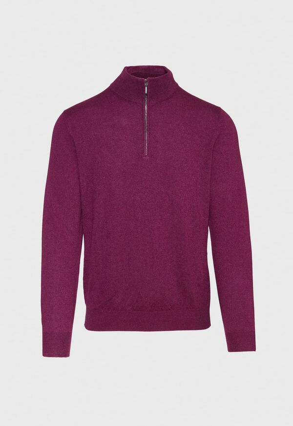 Cashmere Quarter Zip Mock Sweater, image 1
