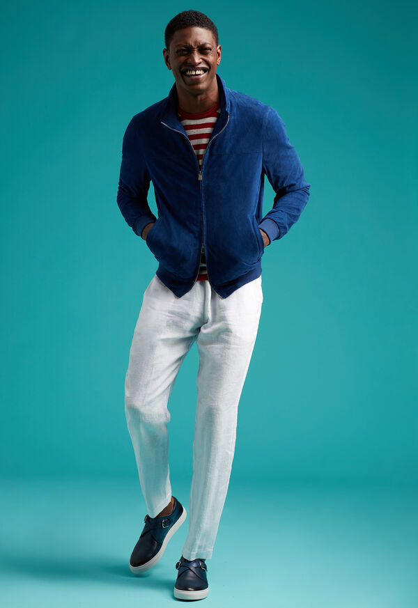 Suede Bomber Jacket with Knit Trim, image 4