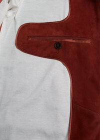 Suede Bomber Jacket with Knit Trim, thumbnail 6