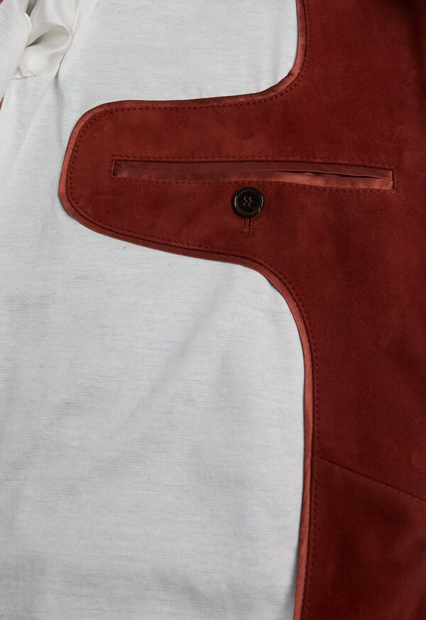 Suede Bomber Jacket with Knit Trim, image 6