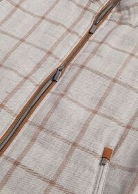 Linen Windowpane Vest with suede trim, thumbnail 2