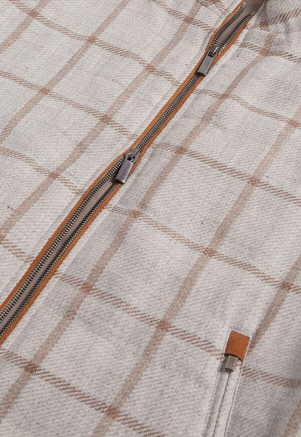 Linen Windowpane Vest with suede trim, image 2