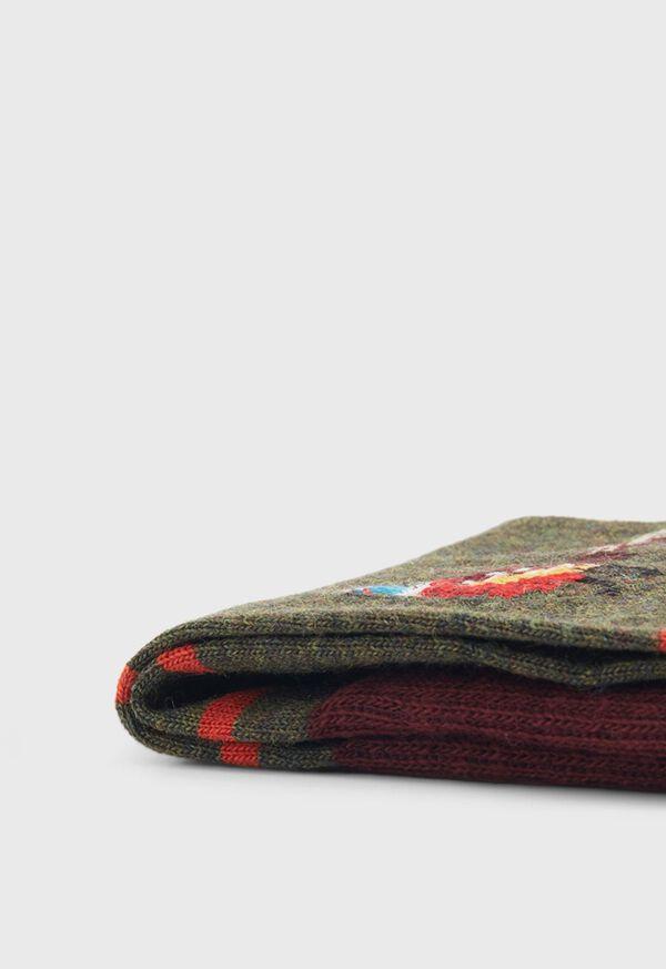 Stripe Sock With Pheasant Motif, image 2