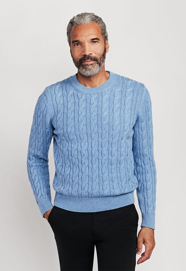 Cable Knit Crewneck Sweater, image 1