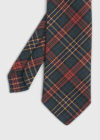 Green & Red Tartan Wool Tie, thumbnail 1