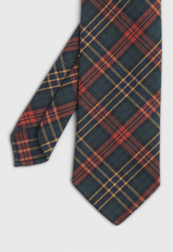 Green & Red Tartan Wool Tie, image 1