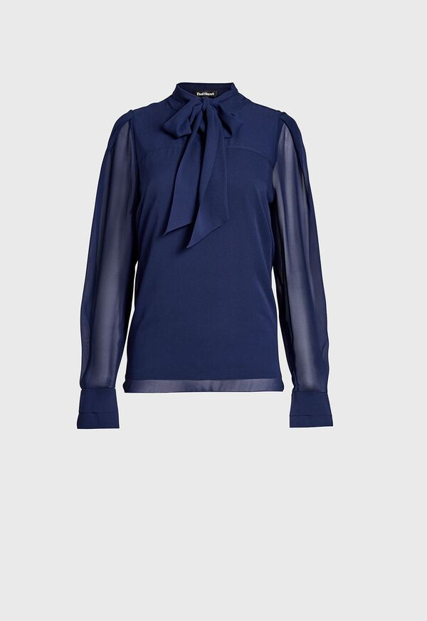 Tie Front Silk Blouse, image 1