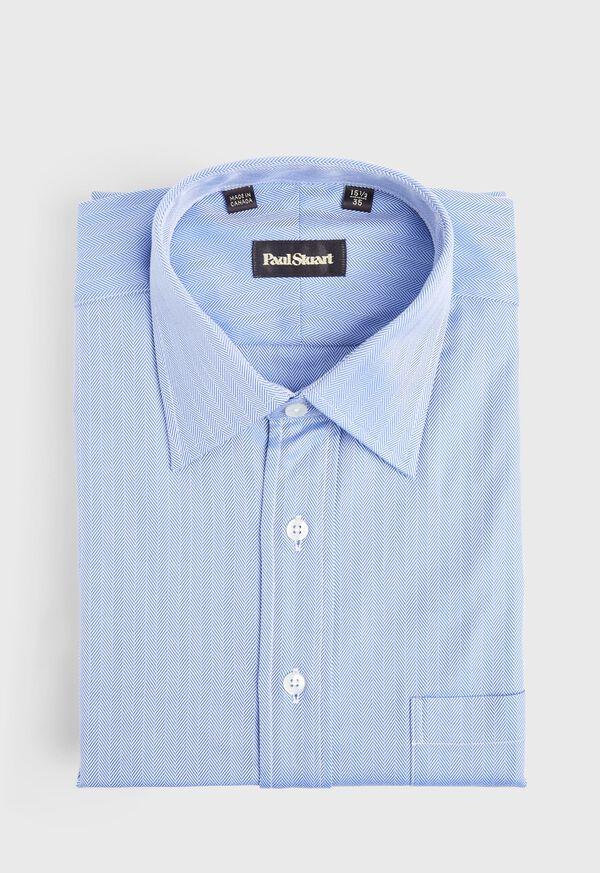 Blue Herringbone Dress Shirt, image 1
