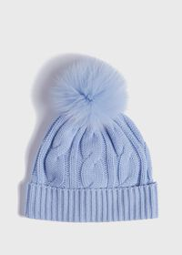 Cashmere Cable Knit Hat with Fur Pom, thumbnail 1