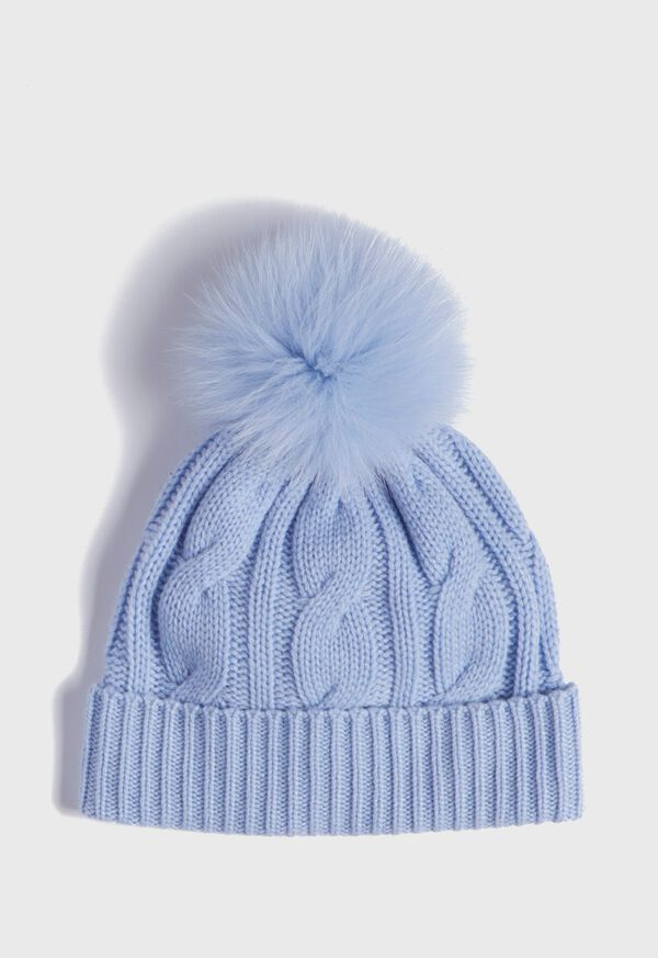 Cashmere Cable Knit Hat with Fur Pom, image 1