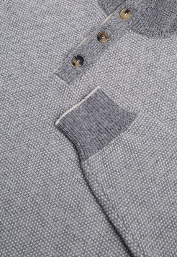 Cashmere Two-Tone Mock Neck Sweater, image 2