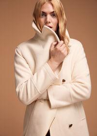 Long Wool Blend Ivory Peacoat, thumbnail 2