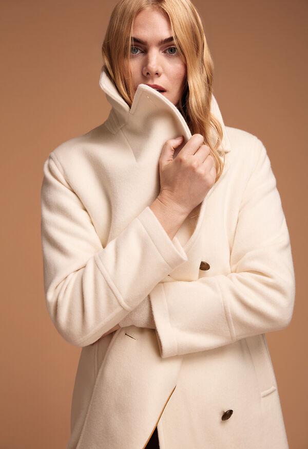 Long Wool Blend Ivory Peacoat, image 2