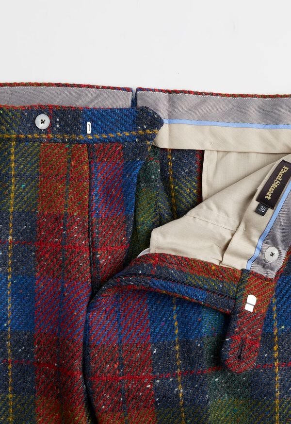 Red and Blue Plaid Plain Front Pant, image 2