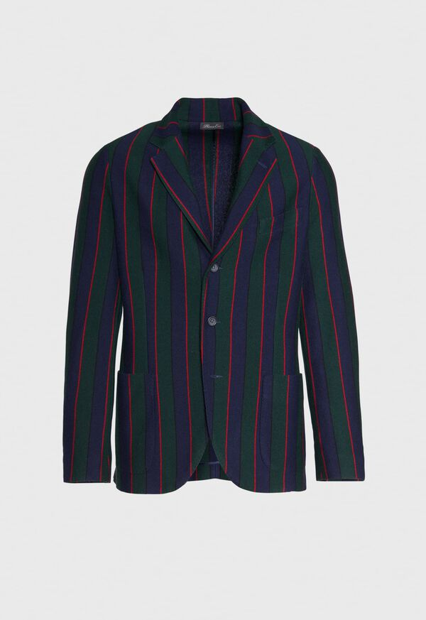 Rice Stitch Merino Wool Stripe Blazer