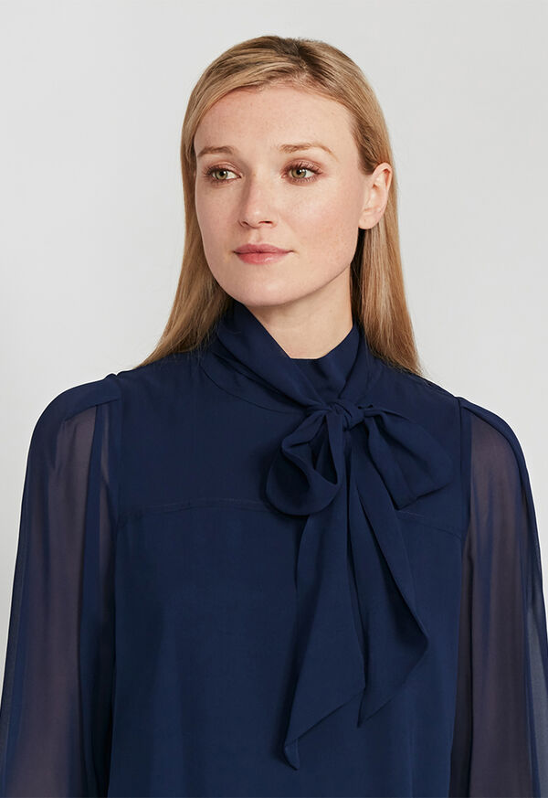 Tie Front Silk Blouse, image 4