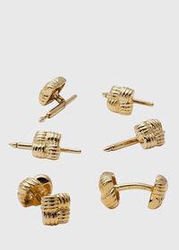 Gold Vermeil Basketweave Cufflink & Stud Set, thumbnail 1