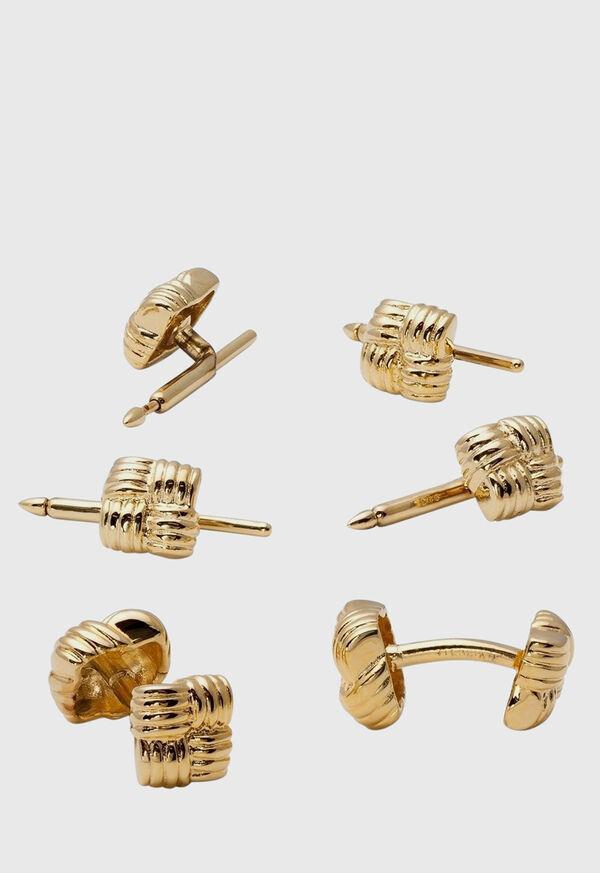 Gold Vermeil Basketweave Cufflink & Stud Set, image 1