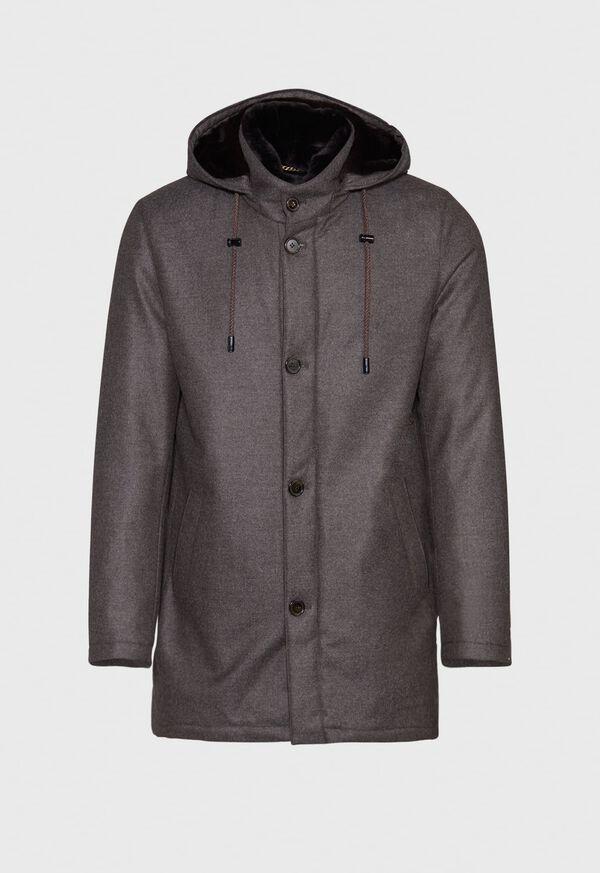 Fur Hooded Parka Coat, image 1
