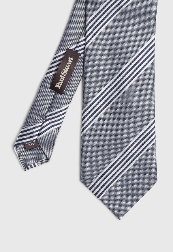 Silk and Linen Stripe Tie, image 1