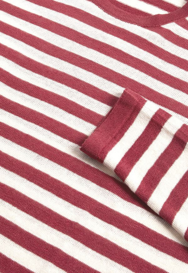 Cotton and Linen Long Sleeve Striped Crewneck Top, image 3