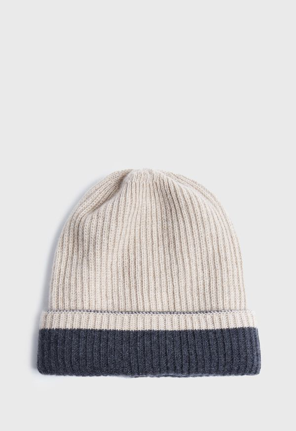 Reversible Two Tone Cashmere Beanie Hat, image 2