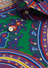 Blue Paisley Cotton Shirt, thumbnail 2