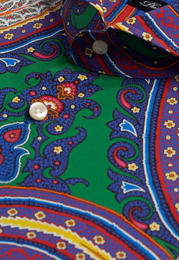 Blue Paisley Cotton Shirt, image 2