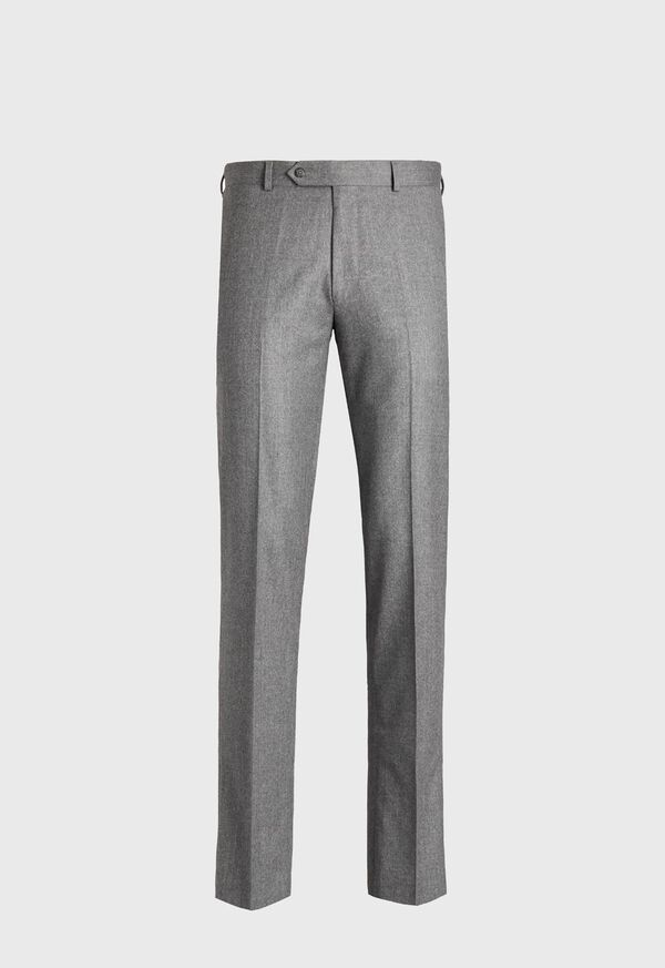 Solid Super 120s Wool Flannel Plain Front Trouser, image 1