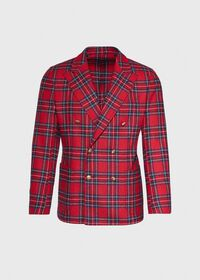 Wool Red Tartan Double Breasted Jacket, thumbnail 1