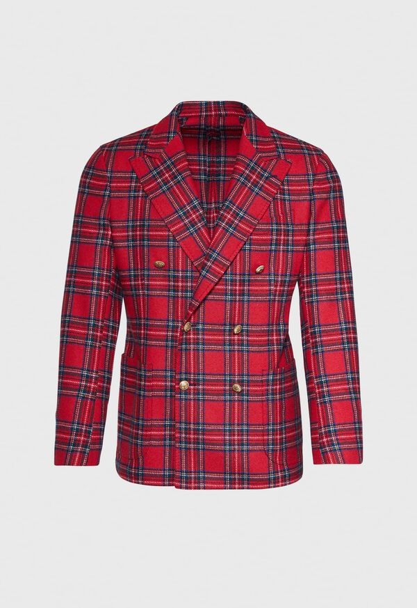 Wool Red Tartan Double Breasted Jacket