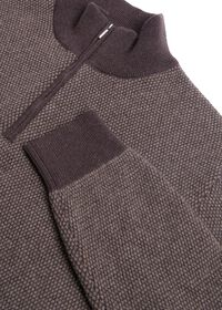 Cashmere Bird's Eye Quarter Zip Sweater, thumbnail 2
