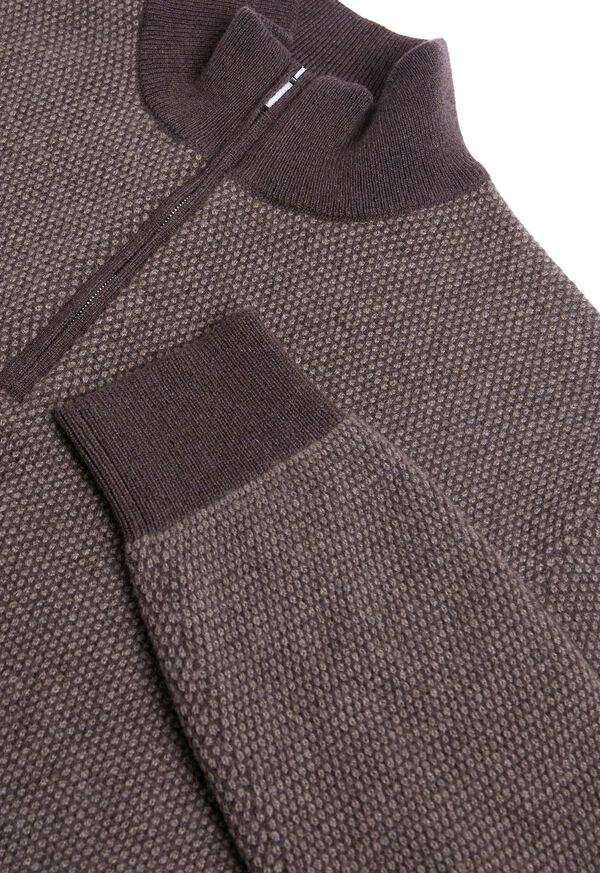 Cashmere Bird's Eye Quarter Zip Sweater, image 2