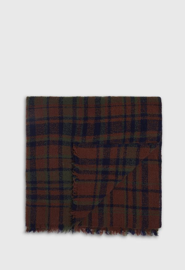 Brown and Green Boucle Plaid Scarf