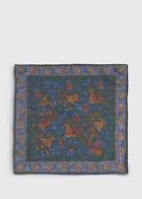 Birds Print Wool Pocket Square, thumbnail 3