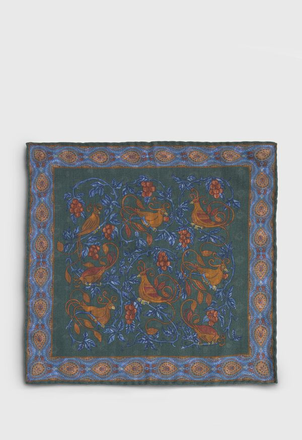 Birds Print Wool Pocket Square, image 3