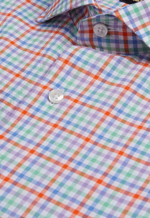 Cotton Seersucker Plaid Sport Shirt, image 2