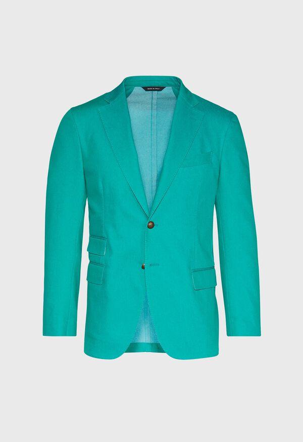 Green Cotton Blend Denim Jacket