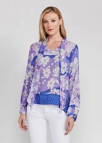 Floral Tie Front Silk Blouse, thumbnail 1