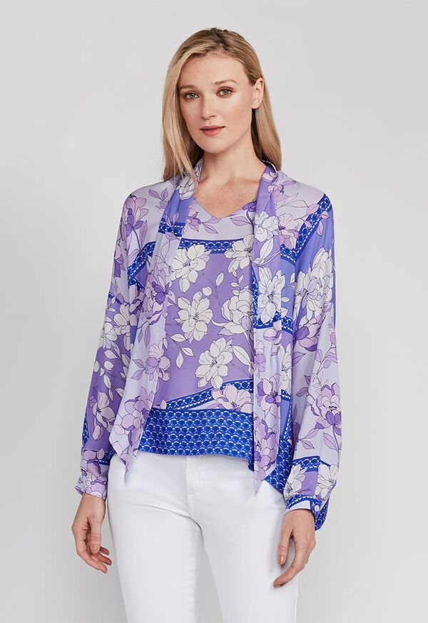 Floral Tie Front Silk Blouse, image 1