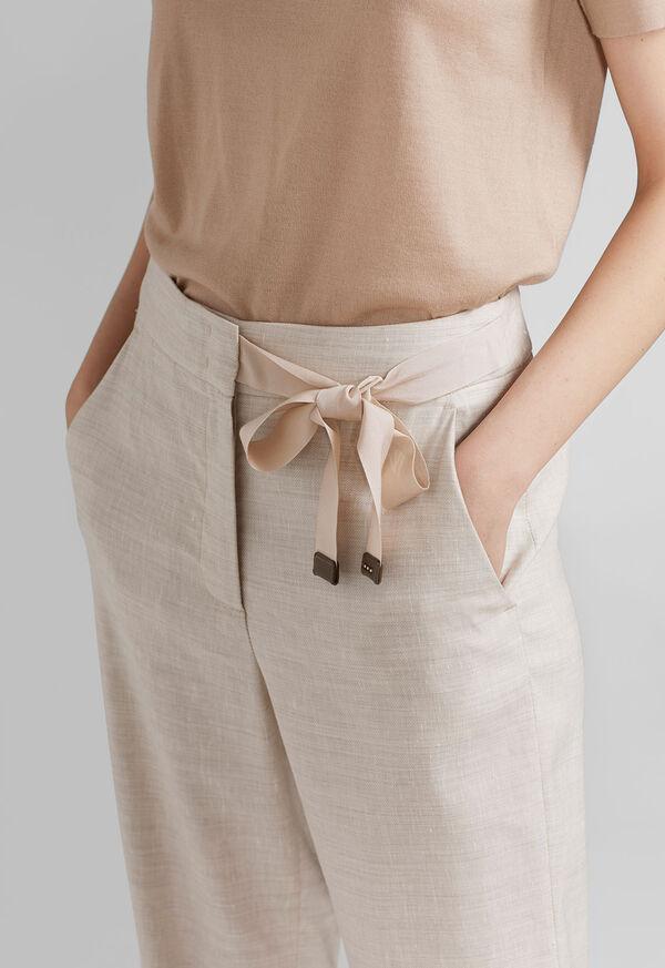 Linen Pant with Grossgrain Belt, image 3